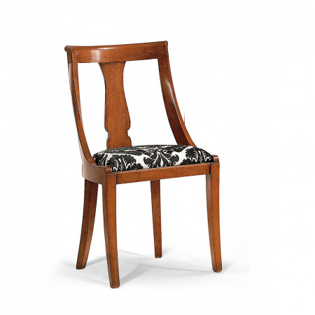Sedia classica in legno con fondo imbottito in tessuto
