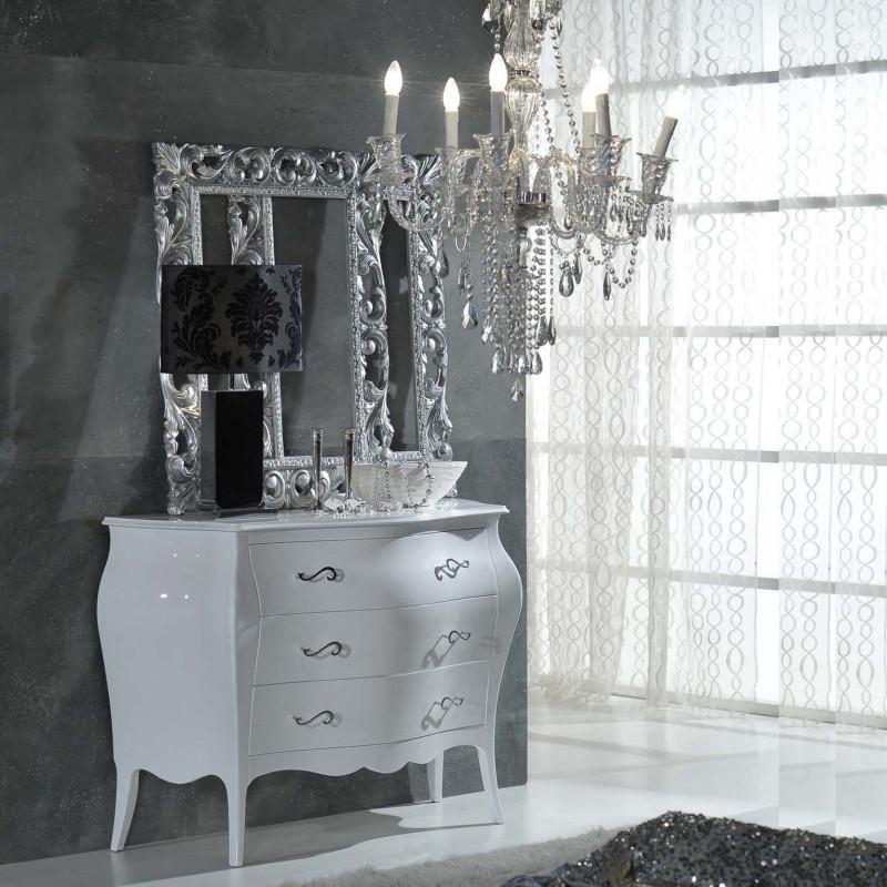 Como 39 3 cassetti laccato bianco lucido for Maniglie per mobili moderni