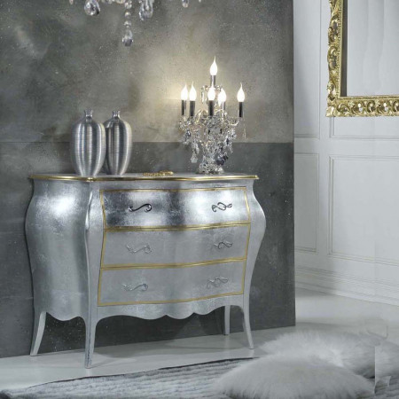 Como' 3 cassetti con foglia argento e cornici oro
