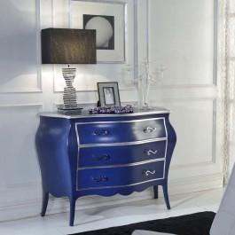 Como' 3 cassetti blu e foglia argento