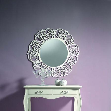Specchio rotondo con cornice traforata