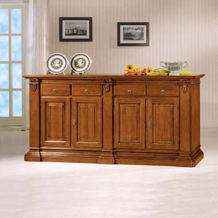 Credenza classica in legno 4 ante 4 cassetti