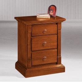 Comodino classico in legno con 3 cassetti