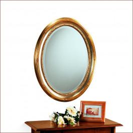 Specchiera ovale argento e oro