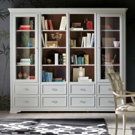 Libreria classica in legno con cassetti e ante vetro