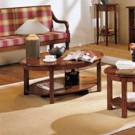 Tavolino ovale con gambe a colonna