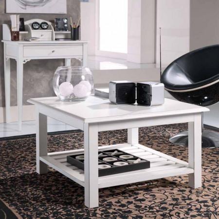 Tavolino quadrato con pianetto a doghe