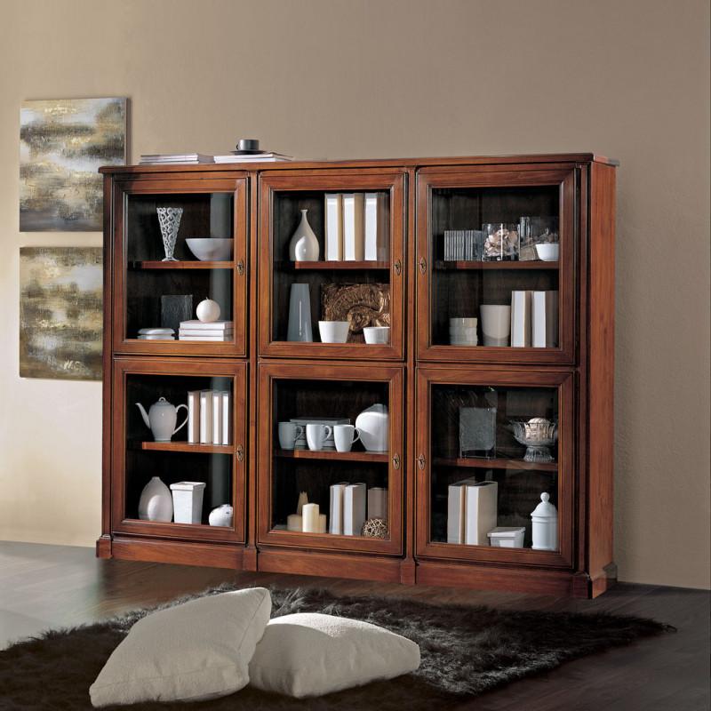 Libreria in legno 6 ante con vetro