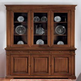 Credenza classica con vetrina in legno
