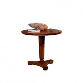 Tavolino rotondo con gamba tornita