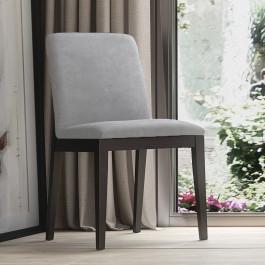 Sedia in legno Antares con fondino microfibra grigio chiaro