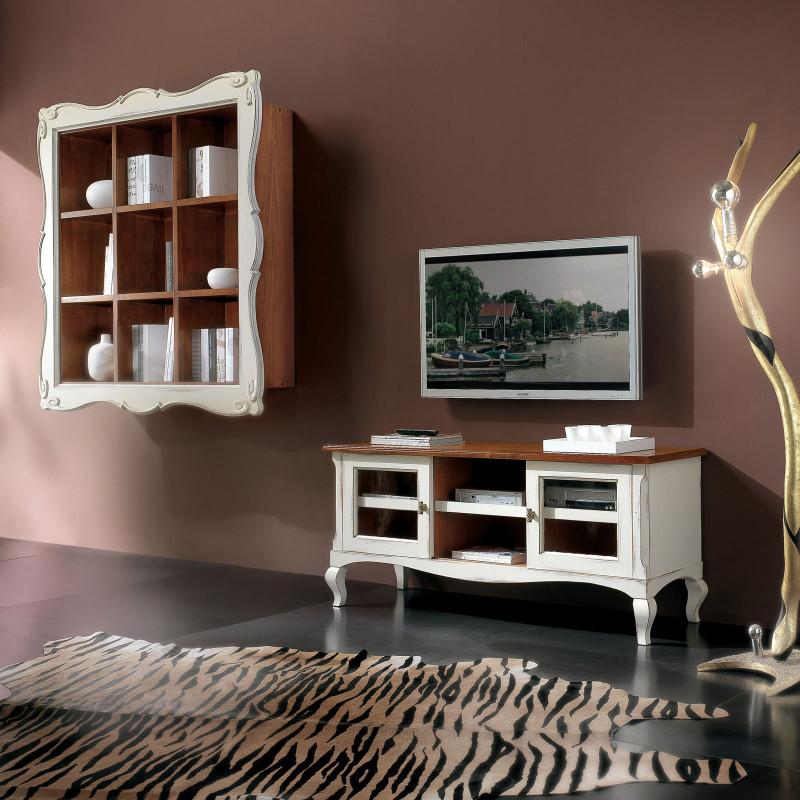 soggiorno moderno con libreria sospesa