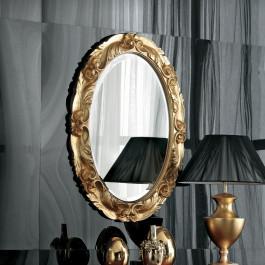Specchiera ovale foglia oro