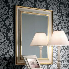 Specchiera laccata bianco e oro
