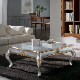 Tavolino foglia argento cornici oro