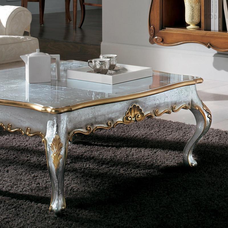 Tavolini Da Salotto Classici Foglia Oro.Tavolino Foglia Argento Cornici Oro
