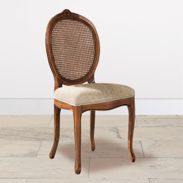 Sedia ovalina imbottita con schienale in paglia di vienna