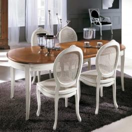 Tavolo ovale bicolore 115/203x95