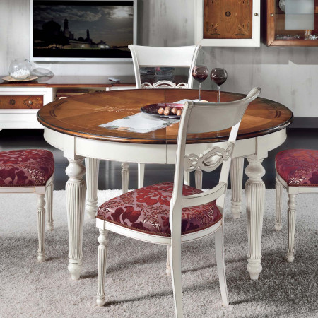 Tavolo rotondo 140/260x140 intarsiato verona