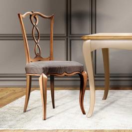 Sedia con sedile imbottito in tessuto