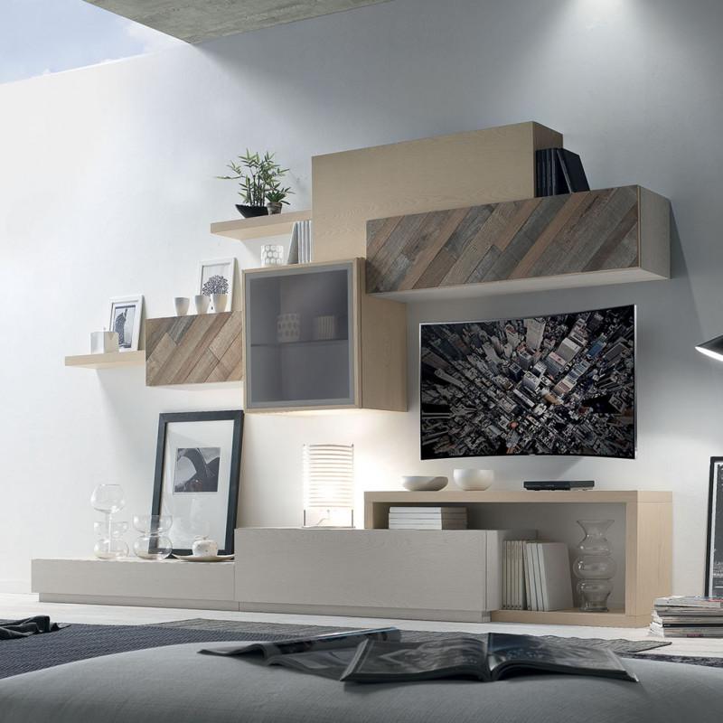 Composizione 1 con ante in legno antico for Maniglie per mobili moderni