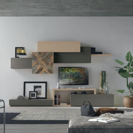 Composizione 8 con ante in legno antico