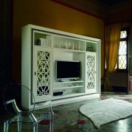 Parete soggiorno ante scorrevoli e porta tv