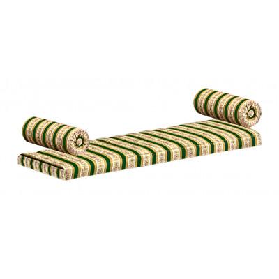 Panca con tessuto rigato verde